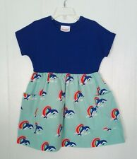 NWT Girls Hanna Andersson Dolphin Dress Size 4 or 100 Playdress Sunny Days New