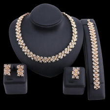 Charm Dubai Gold Plated Crystal Necklace Earring Bracelet Ring Jewelry Set