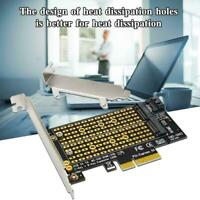 M.2 NGFF Desktop PCIe x4 x8 x16 NVMe SATA Dual SSD Q Adapter PCI Card Q1O9