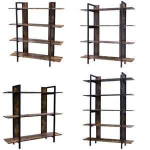 Vintage Retro Shelf Industrial Rack Floor Standing Bookshelf Rustic Wood Stand