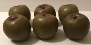 6 Realistic Green Apples Plastic Artificial Faux Fruit Home Craft Table Decor