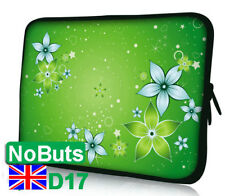 "D17 Green flower 10"", 10.1"", 10.2"" Ipad tablet Notebook Sleeve Soft Case UK"