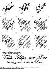 FABRIC PANEL~FAITH, HOPE, LOVE~BLOCK PARTY STUDIOS~BLACK INK /NATURAL~CHRISTIAN
