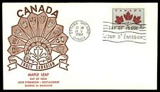 Canada Fdc Maple Leaf 5c Issue 1964 Cachet Unsealed