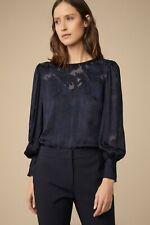 Beautiful Witchery Jacquard Paisley Print Volume Silk Shirt Navy 12 - BNWT