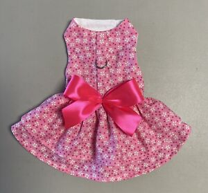 Dog Clothes Harness Dress Double Ruffles With Bow Size: 5 XXS