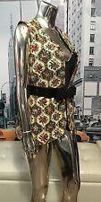 Rare Vintage  70'S Floral Tapestry RUG Boho Hippie Long Open Vest 😍💕💋