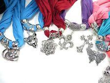 US SELLER-10pcs Wholesale Scarves pendant jewelry scarf necklace bulk lot