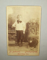 Antique vtg ca 1880s Boy W/ Large Dog Cabinet Card Photo Nice Early Photograph