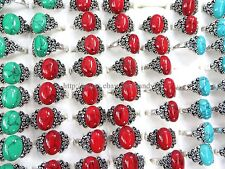 US Seller- 20pcs cheap jewelry sites turquoise fashion gemstone rings