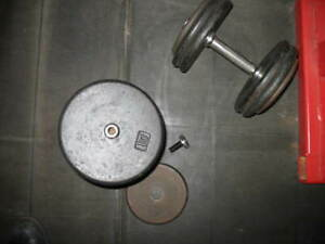 YORK BARBELL PANCAKE PLATES NON-MARKED ON IVANKO PRO-STYLE DB'S,(2) X APPROX. 55