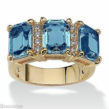 WOMENS 14K GOLD EMERALD CUT AQUAMARINE MARCH BIRTHSTONE RING SIZE 5 6 7 8 9 10