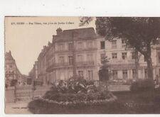 Reims Rue Thiers Vue Prise du Jardin Colbert Vintage Postcard France 522a