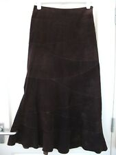 ❤️ MONSOON SUEDE CHOCOLATE BROWN LONG MAXI PANELLED FIT AND FLARE SKIRT 10 38