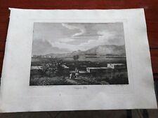 1829 ACQUAFORTE PARBONI DA DISEGNO DESSOULAVY TEMPI DI PAESTUM SALERNO PESTUM