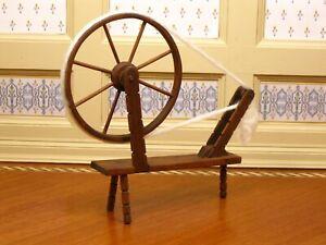 "Frank Belt Walnut Spinning Wheel with ""Fibers"" Artisan Dollhouse Miniature"