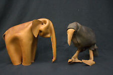 1/2 Midcentury Animal ELEFANT Tier Tiere Spielzeug DERU Leder German Design 60er