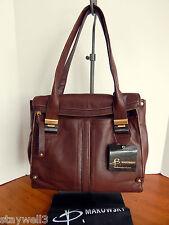 B. Makowsky Leather Ava Foldover Satchel Shoulder Shopper Tote +DustBag NWT $318