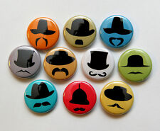 "10 HATS AND MUSTACHES Buttons Pinbacks Badges 1"" Geekery Novelty Guys"