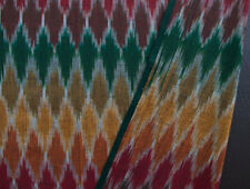 Genuine, Artisan, Ikat Fabric. Hand-Dyed & Hand Woven Cotton. Red, Yellow, Green