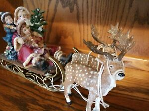 LARGE SANTA   WITH SLEIGH AND REINDEER - IN EXCELLENT CONDITION