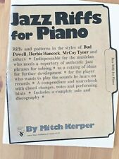 Mitch Kerper Jazz Riffs for Piano, Style Of Hancock & Others, Free Shipping!