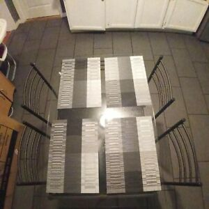 Glass Dining Table With 4 Chairs Set