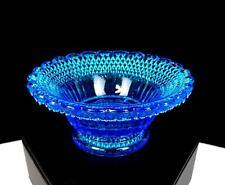 "EAPG CAMPBELL JONES CO PEARL STAR & DEWDROP PATTERN GLASS BLUE 3 1/8"" SALT DIP"