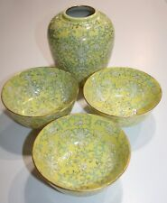 Chinese Famille Rose Yellow Bowls & Ginger Pot