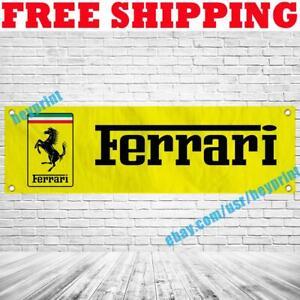 Ferrari Logo Banner Flag 18x59 Car Racing Show Garage Wall Decor Sign 2021 NEW