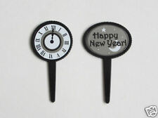 12 Midnight Clock Happy New Years Eve Cup Cake Pick Decor Topper Party Supply