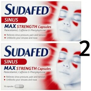 UK VERSION - 2 x Sudafed Sinus MAX STRENGTH Relief Congestion Relief Capsules