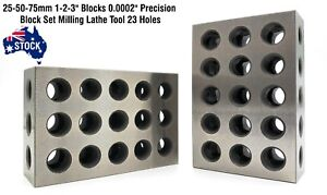 "Imperial 1-2-3"" Blocks 0.0002"" Precision Block Set Milling Lathe 23 Holes 123"