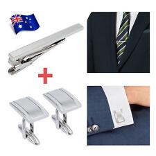 Mens Silver Business Wedding Shirt Cufflinks Tie Clip Clasp Bar Pin Necktie Set