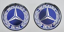 2pcs x MERCEDES BENZ Bleu Vintage Logo (diam 50 mm). En forme de dôme 3D Autocollants/Decals.