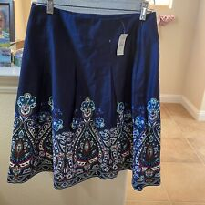 NWT  Talbots Blue  Paisley Patterned Pencil Skirt Size 4P