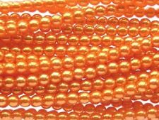 ORANGE Czech glass round pearl beads -string of 110 beads - 4mm