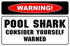 "Metal Sign Warning Pool Shark 8"" x 12"" Aluminum NS 670"