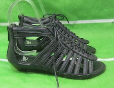 """new Summer Black Open Toe Lace Up 1.5""""Wedge Womens Shoes Sexy Sandals Size 6"""
