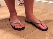 Women's Next Size 6 Silver Glittery Flip Flops Good Condition