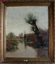Jean MAILLARD (1901-1991) Pêcheur en bord de rivière Huile sur toile