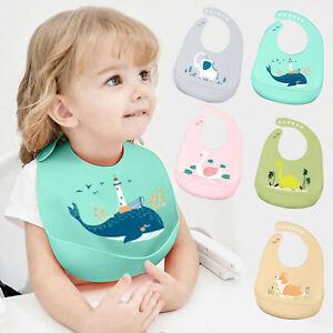 Soft Baby Boys Girls Dribble Bib Silicone Bibs Waterproof Wipe Clean Whale Swan
