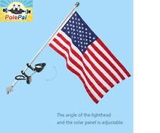 Solar Powered FLAG Pole Light LED Mount flagpole No Wiring Illuminate 8 LEDs NEW