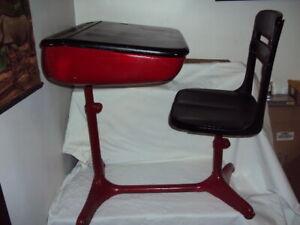 Vintage Industrial Child's School Desk Red Steel lift Top Wood Seat School
