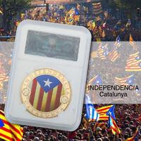 WR Moneda de oro de 2014 Catalunya Independencia en exhibición 300 años de losa