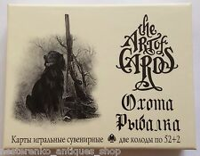 HUNTING & FISHING Ukraine SET OF 2 Decks 54 Playing Cards Russian in GIFT box