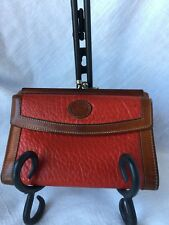 RARE Vintage Dooney & Bourke Red Kiss-Lock Wallet Pebble Leather Made in USA