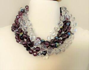 Acrylic Amethyst Beads, Clear Lucite & Rhinestone Necklace Angela Caputi