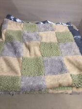 """Cocalo Blue Green Yellow Satin Plush Block Square Patchwork Baby Blanket 30x30"""""""