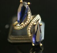 925 Sterling Silver Handmade Gemstone Turkish Sapphire Ladies Ring Size Adj